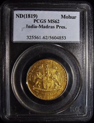 British India: Madras - East India Company gold Mohur ND (1819) MS62 PCGS.