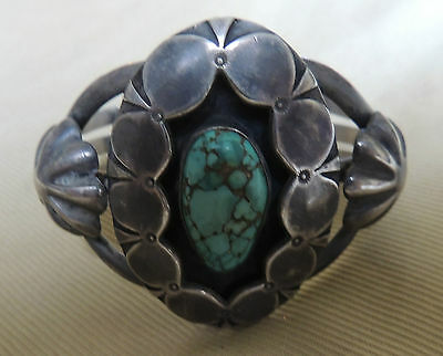 Stunning Navajo Floral Bracelet Egg Shaped Stone Shadowbox Buttons c1940s-50s