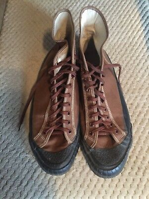 Vintage Athletic GYM High Top Brown Canvas Sneaker Shoe Mens 9 / Military USA