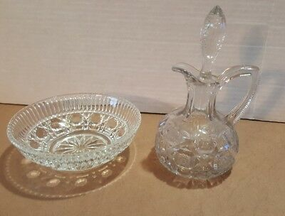 Vintage Clear Cut Glass Cruet With Faceted Stopper and Matching Bowl