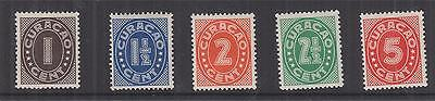 CURACAO, 1936 Figures, Enschede printing, set of 5, lhm.