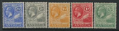 Antigua KGV 1921 5 values from 1/2d to 2 1/2d mint o.g.