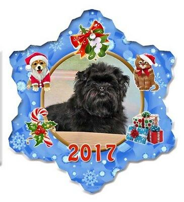 Affenpinscher Porcelain Christmas Holiday Ornament - 2017