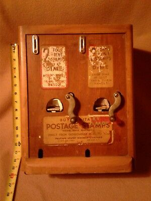 VINTAGE STAMPS VENDING MACHINE dime CENT DISPENSER wooden VINTAGE STAMP CO.