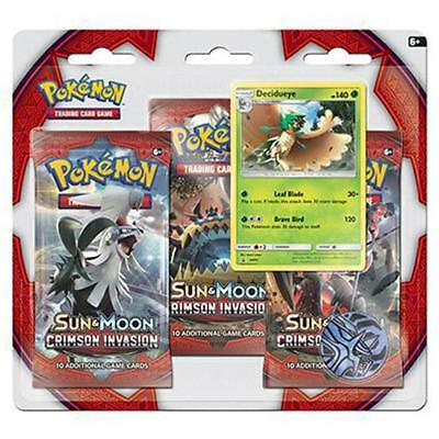 POKEMON TCG Sun & Moon Crimson Invasion 3 Pack Blister Decidueye Promo