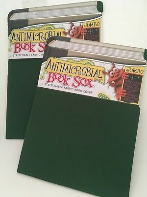 Antimicrobrial Book Sock, Stretchable Book Cover, 2 Piece Set, Green Jumbo Size