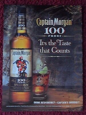 2009 Print Ad Captain Morgan Spiced Rum ~ 100 PROOF It's the Taste that Counts