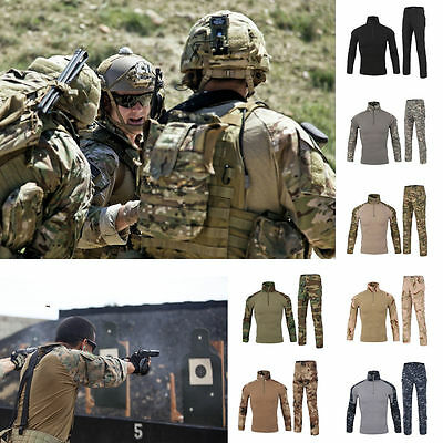 Multicam Mens Tactical Combat Airsoft Frog Suit Set Shirt Pants Military Uniform