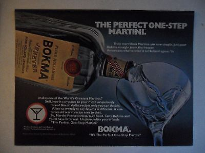 1980 Print Ad Bokma Jenever Martini ~ The Perfect One-Step Martini