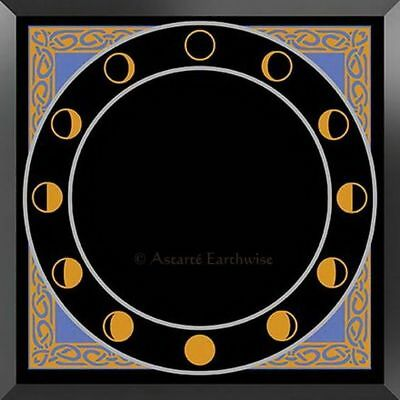 13 MOONS BLACK GLASS SCRYING MIRROR Wicca Witch Pagan Goth Occult DIVINATION