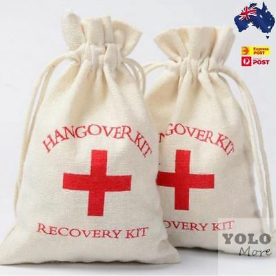 10x Hangover Recovery Kit Muslin Favour Bags Rustic Hens Party Engagement