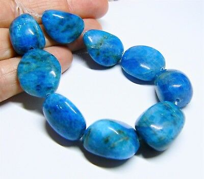 "9 RARE HUGE NATURAL FABULOU BLUE APATITE NUGGET BEADs 18-22mm 260ct 6.5"" STRAND"