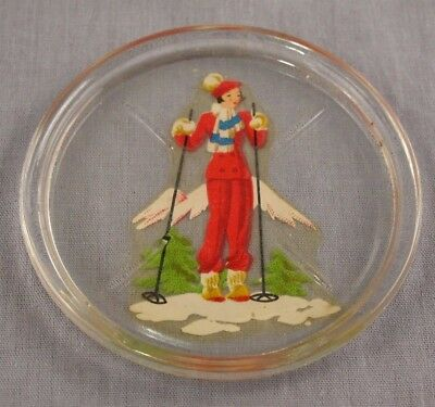 "Vintage Downhill Skier Glass Coaster Skiing Cross Country Soap Dish 3"" Ski Lodge"