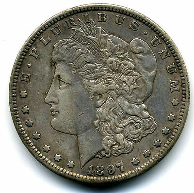 RARE 1897 S AU Morgan Silver Dollar About Uncirculated Coin LOW MINTAGE U.S#3593