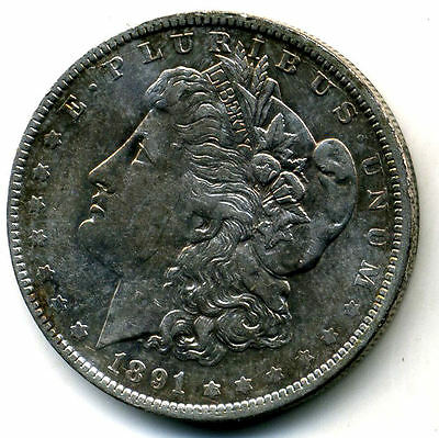 RARE 1891 O AU Morgan Silver Dollar About Uncirculated Coin LOW MINTAGE U.S#3584