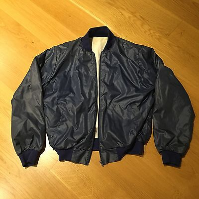 Bomber Full Zipper Jacket Outerwear Vintage Casual Blue Mens Small