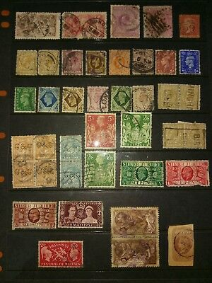 Estate Find Great Britain UK Stamps From Old Hinged Album - Unchecked(212)