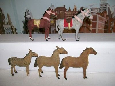Lot Of 5 Vintage 1930's German Composition Horses & Donkey