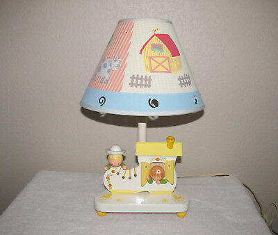 Baby or Child's Wooden Lamp with Night Light Children in Shoe Multi Scene Shade