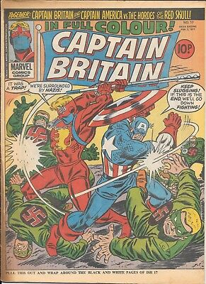 Vintage marvel comics Captain Britain x3 issues from 1977 No's 17,23,25