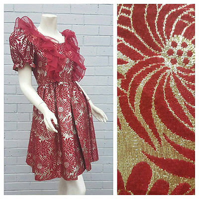 Vintage 1960s Gold Lame Embroidered Floral Organza Frill Pleat Dress Extra Small