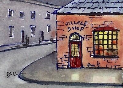 ACEO Original Art Watercolour Painting by Bill Lupton  - Village Shop