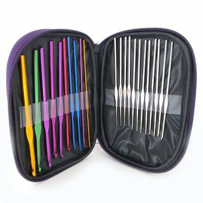 12pcs Multi-Color Aluminium 2mm-8mm Crochet Hooks Yarn Knitting Needles Set