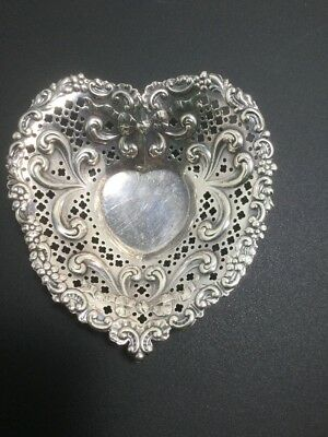 """GORHAM Vintage Pierced Sterling Silver Footed Heart Shaped Bowl Dish 5"""" #966"""