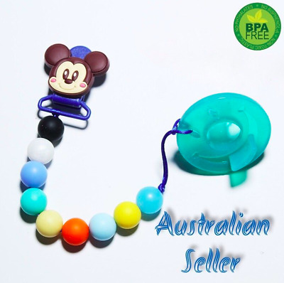 silicone dummy clip pacifier holder chain dummie baby soother toy wooden beads