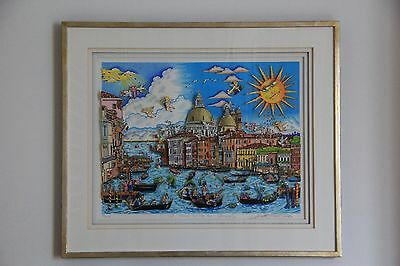 "Charles FAZZINO Grafik ""The sun rives over Venice"" 23/200 handsigniert 72x56cm"