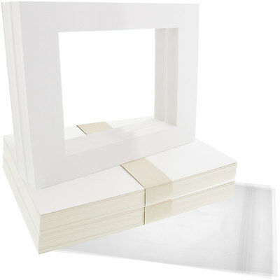 "50 11""x14"" White Picture Mat Set White Core Bevel 8""x10"" Photos Backers & Bags"