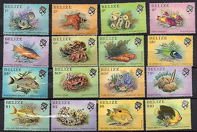 1 Set Of Belize Stamps 1984 Fish And Marine Life  Set Of 16 Mnh