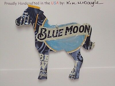 Horse Handmade Christmas Ornament Recycled Aluminum Metal Blue M Beer Can Art