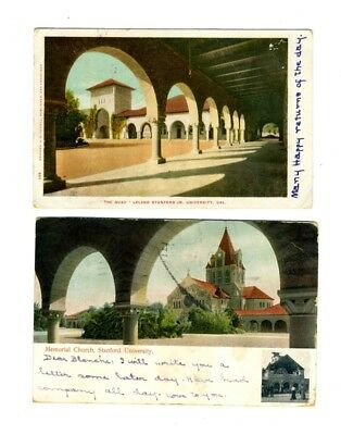 2 Stanford University Postcards 1904 The Quad 1906 Memorial Church