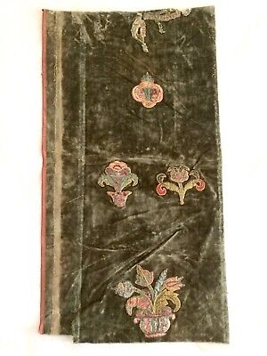 Early Antique Qing Embroidered Green Velvet Section Chinese Ceremonial Garment?