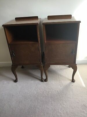 Pair of Antique Walnut veneer Bedside Cabinets