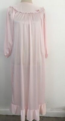 Vintage Pink Nightgown Small Size Ruffle Floral Applique Girl Or Small Woman