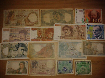 France lot 15 different notes - VF-VF+ condition