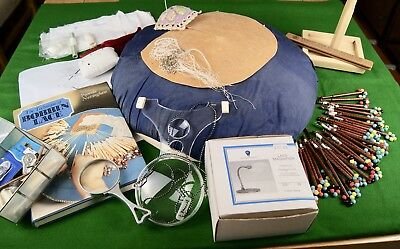 Vintage Lace Makers Pillow, Spangled Bobbins, Book, Magnifiers, Tools, Scissors
