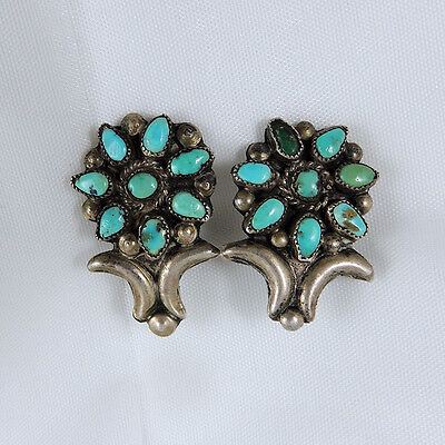 Old Fine! Zuni Pueblo Petit Point Turquoise Sterling Silver Clip-on Earrings