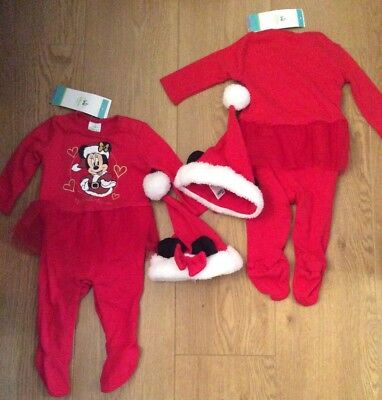Christmas Twin Girls Baby Grows & Tutu Upto 3 Months  New Free Uk Postage