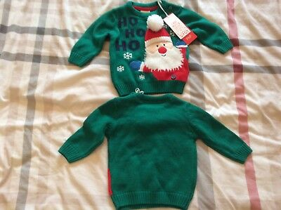 Twin Boys Upto 3 Months Matching Christmas Jumpers New Free Uk Postage