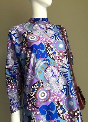 VINTAGE 60s Fab Blue Purple PSYCH Mod DRESS - 60's VTG MANDARIN Collar - 16
