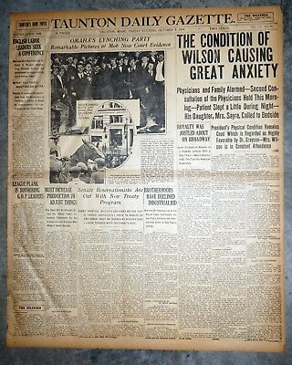 Omaha Lynching Party & Woodrow Wilson Stroke - 1919 Newspaper Front Page