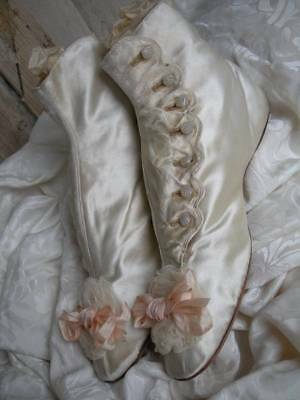 Antique French silk wedding boots shoes circa 1820 w. glass buttons & rosettes