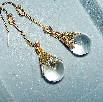 POOLS Of LIGHT Earrings NATURAL Rock Crystal Quartz Orbs GOLD Plated Drops