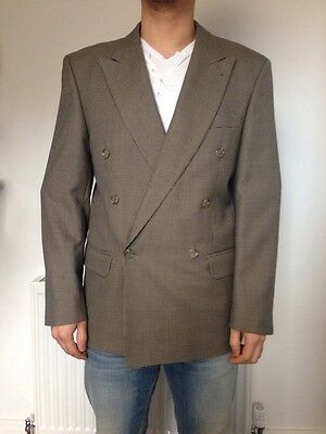 double breasted grandad Navy Taupe dogtooth vintage wool blend jacket blazer