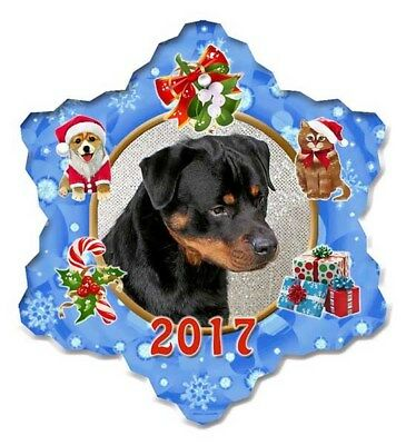 Rottweiler Porcelain Christmas Holiday Ornament - 2017