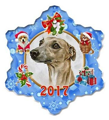 Whippet Porcelain Christmas Holiday Ornament - 2017