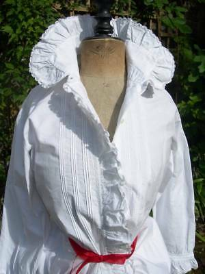 Antique French hand embroidered woman's chemisier blouse 1890s